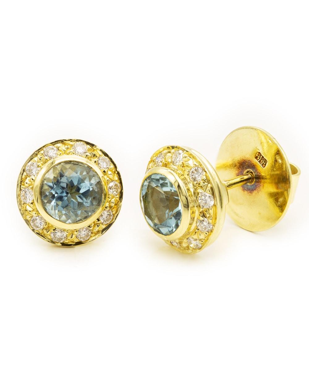 Ohrstecker mit Blautopas und Brillanten 585er Gold