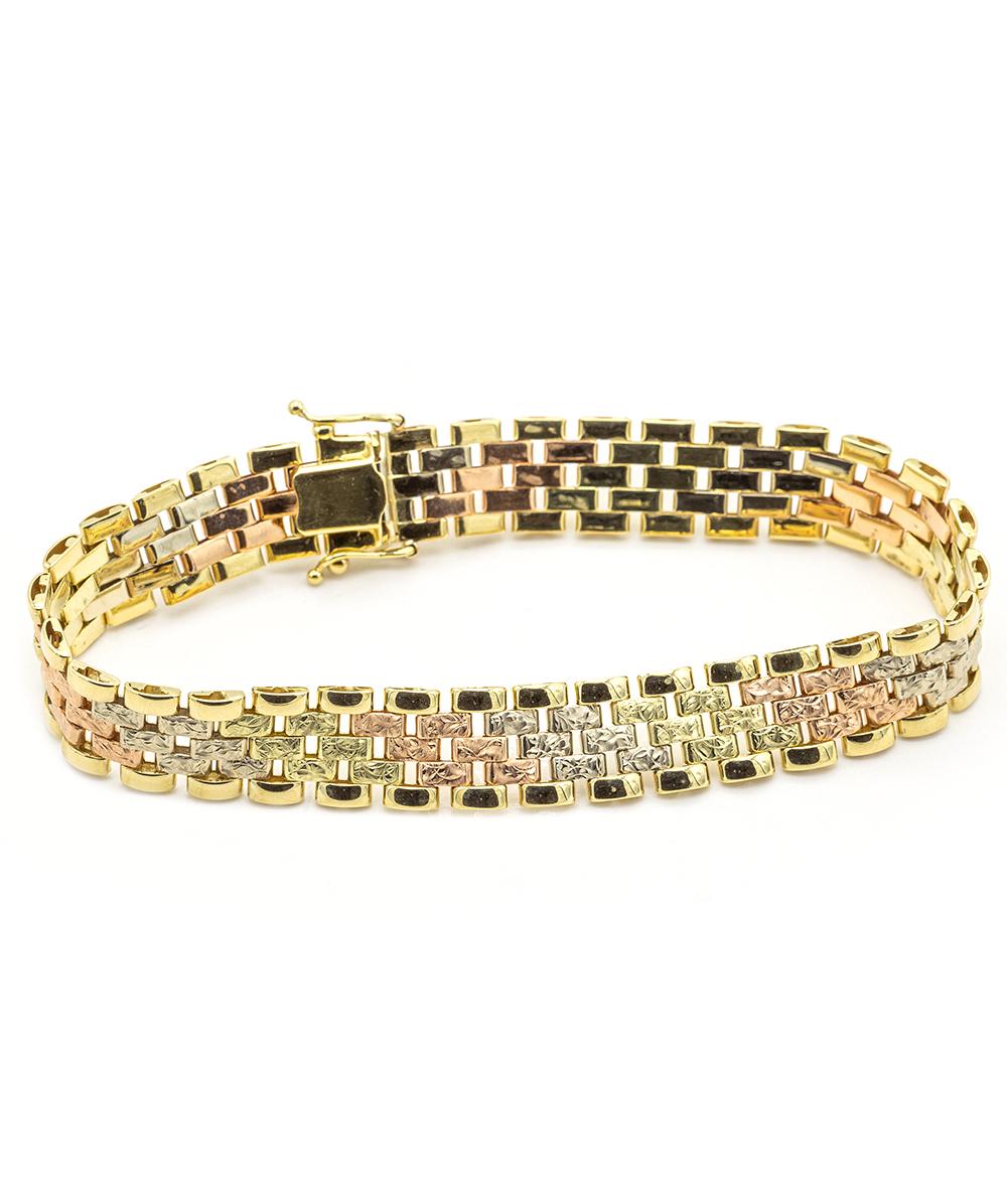 Armband 585er Gold Tricolor