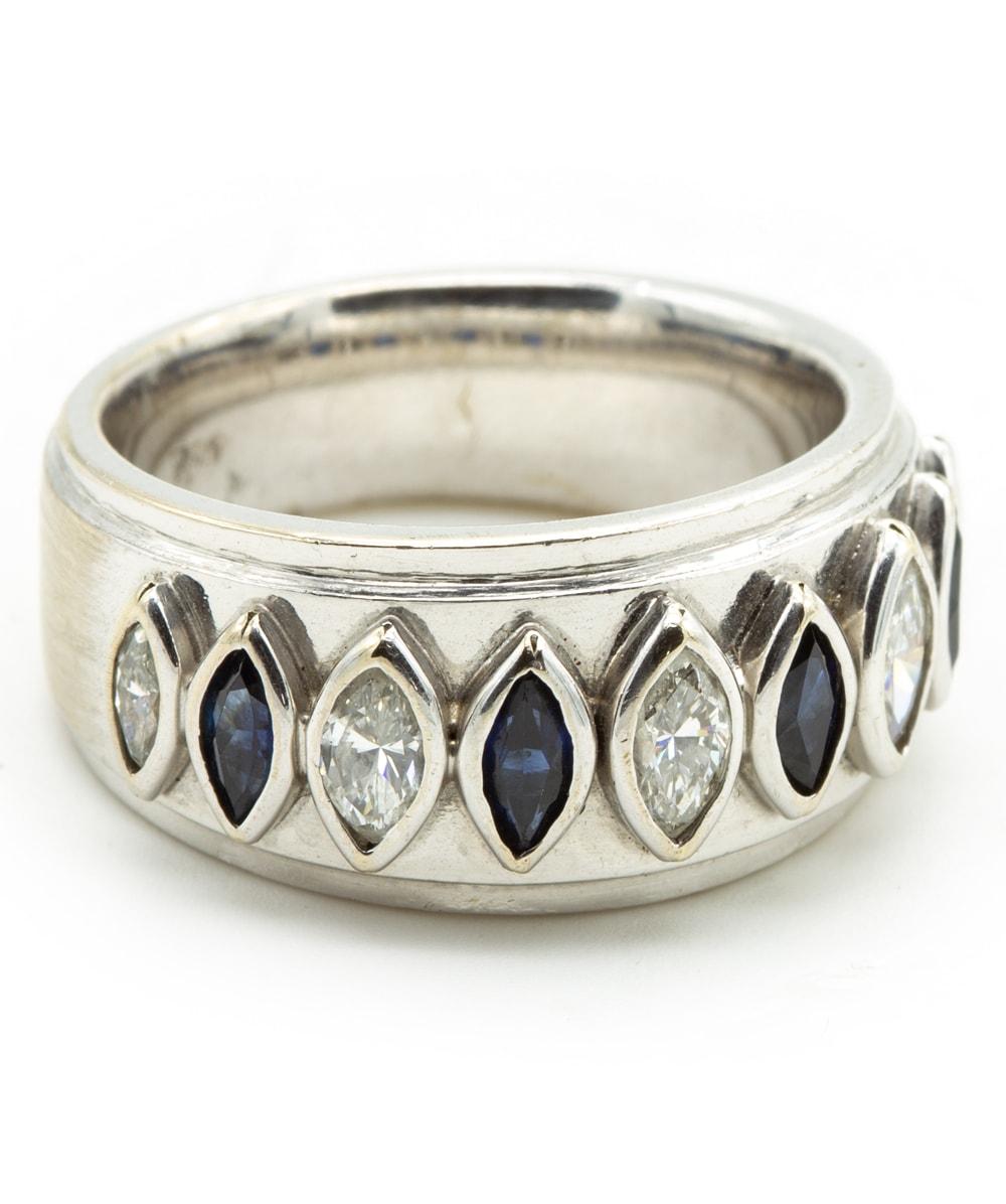 Ring mit Diamant Safir 750er Weißgold