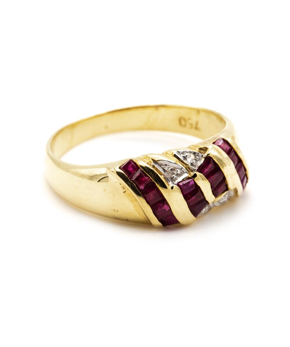 Ring Rubin Diamant 750er Gelbgold