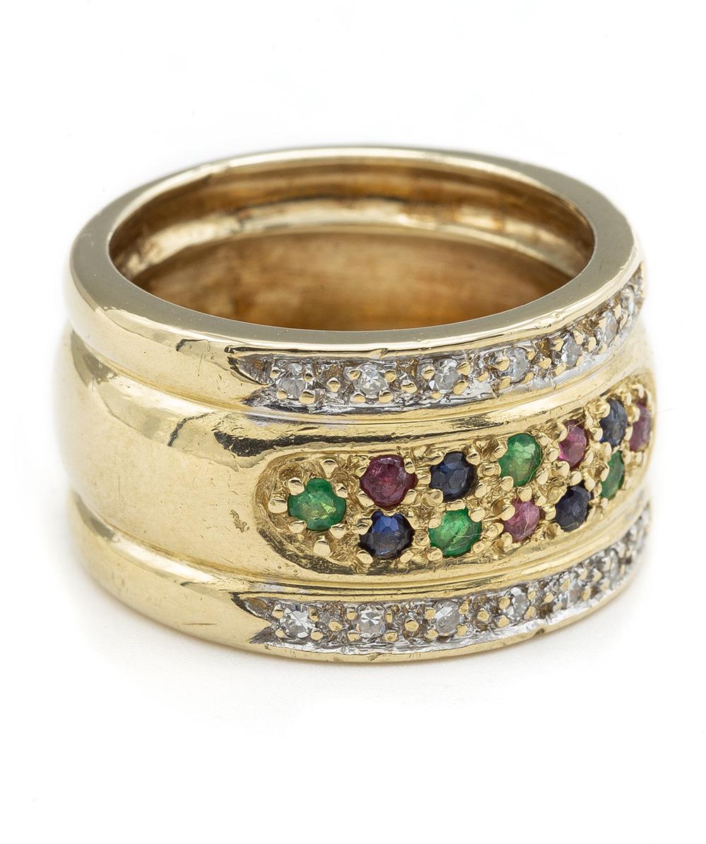 Ring mit Diamanten,Smaragden,Rubinen und Saphiren 585er Gold
