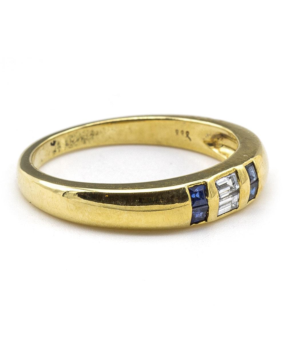 Ring mit Diamanten und Saphiren 750er Gold