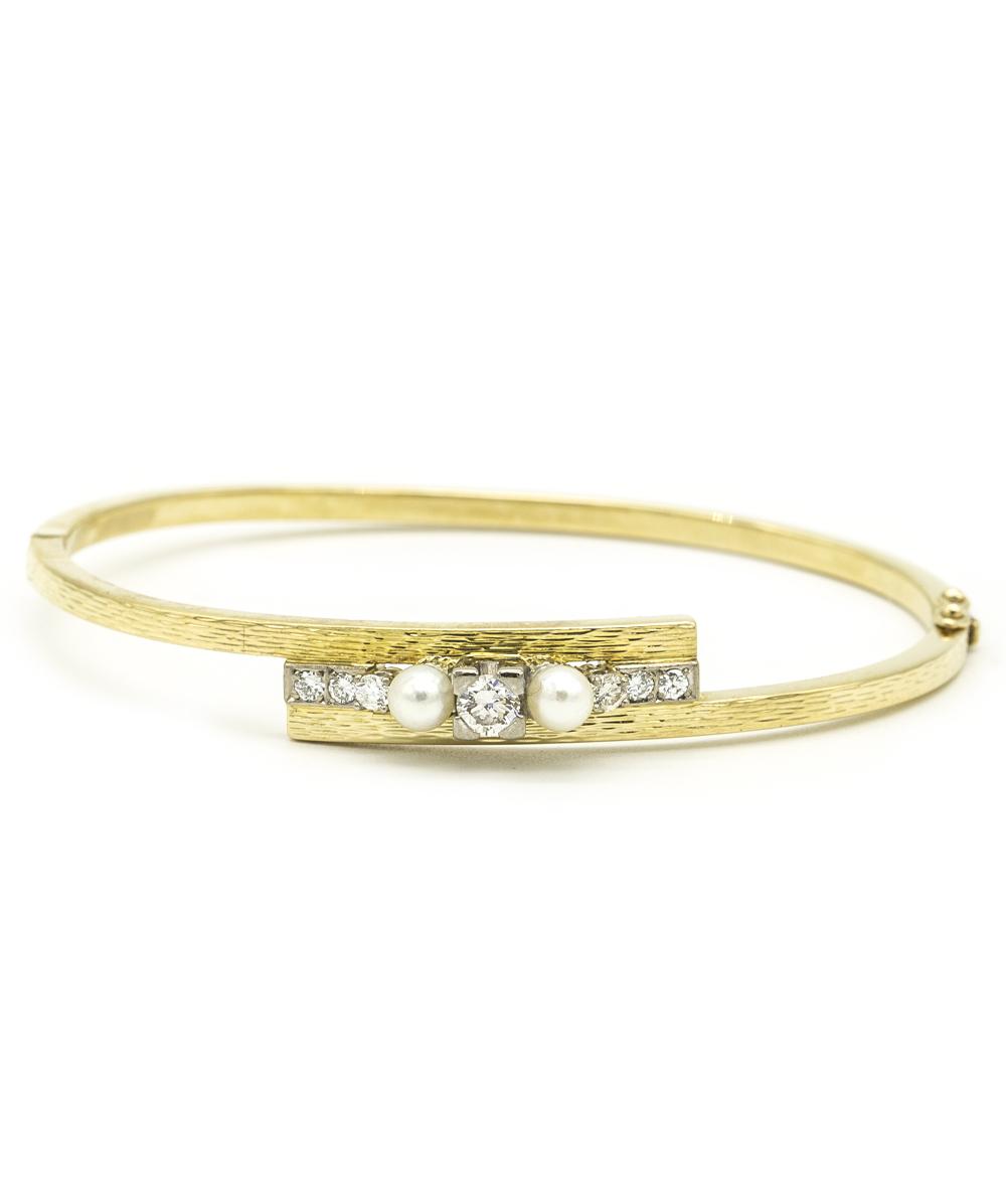 Armspange mit Brillanten und Perlen 750er Gold