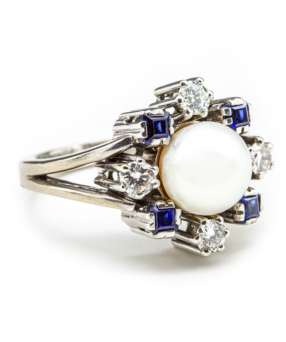 Ring mit Brillant Saphir Perle 750er Weißgold