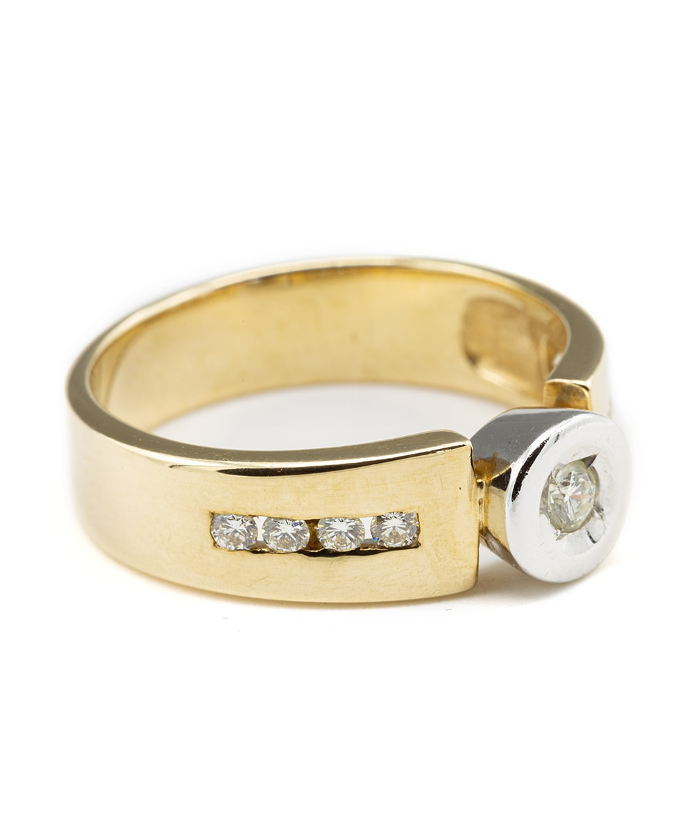Ring mit Brillanten 585er Gold bicolor