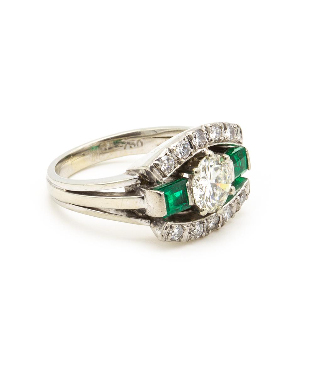 Ring Brillant Smaragd 750er Weißgold