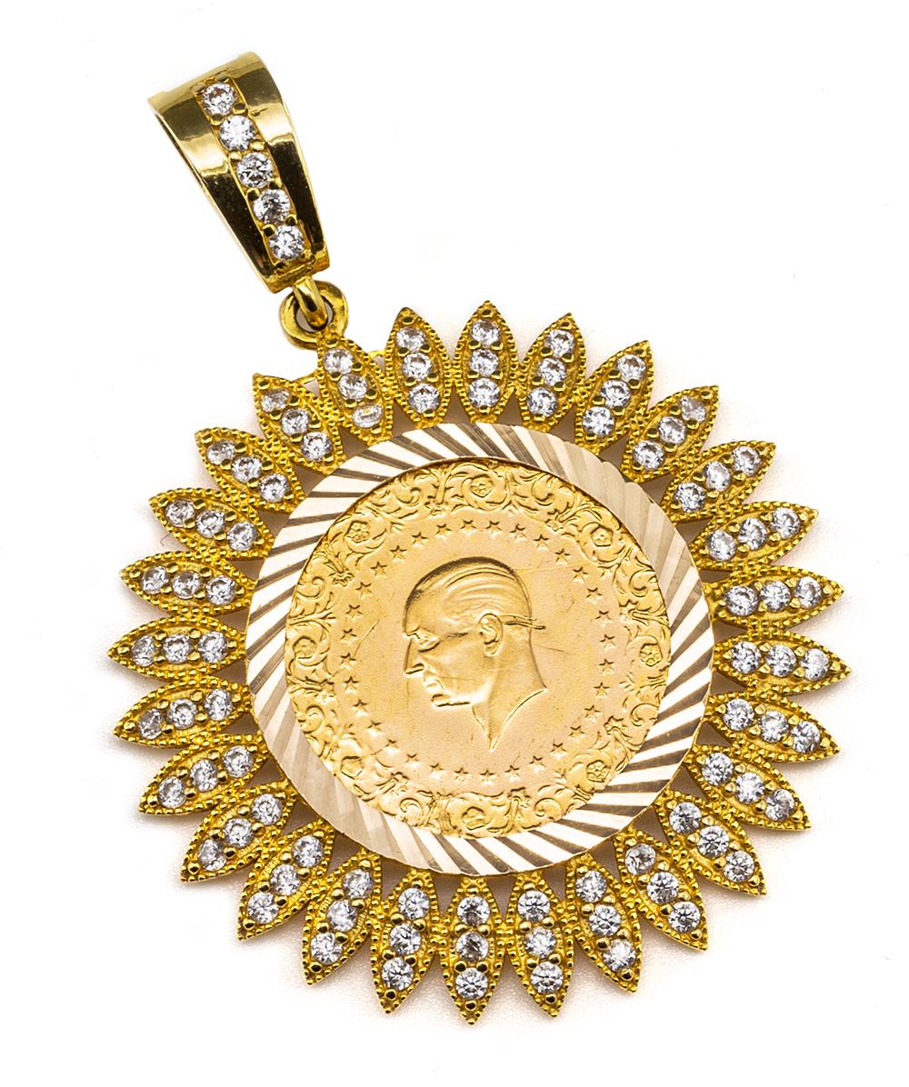 Anhänger Atatürk Münze 916er und 585er Gelbgold