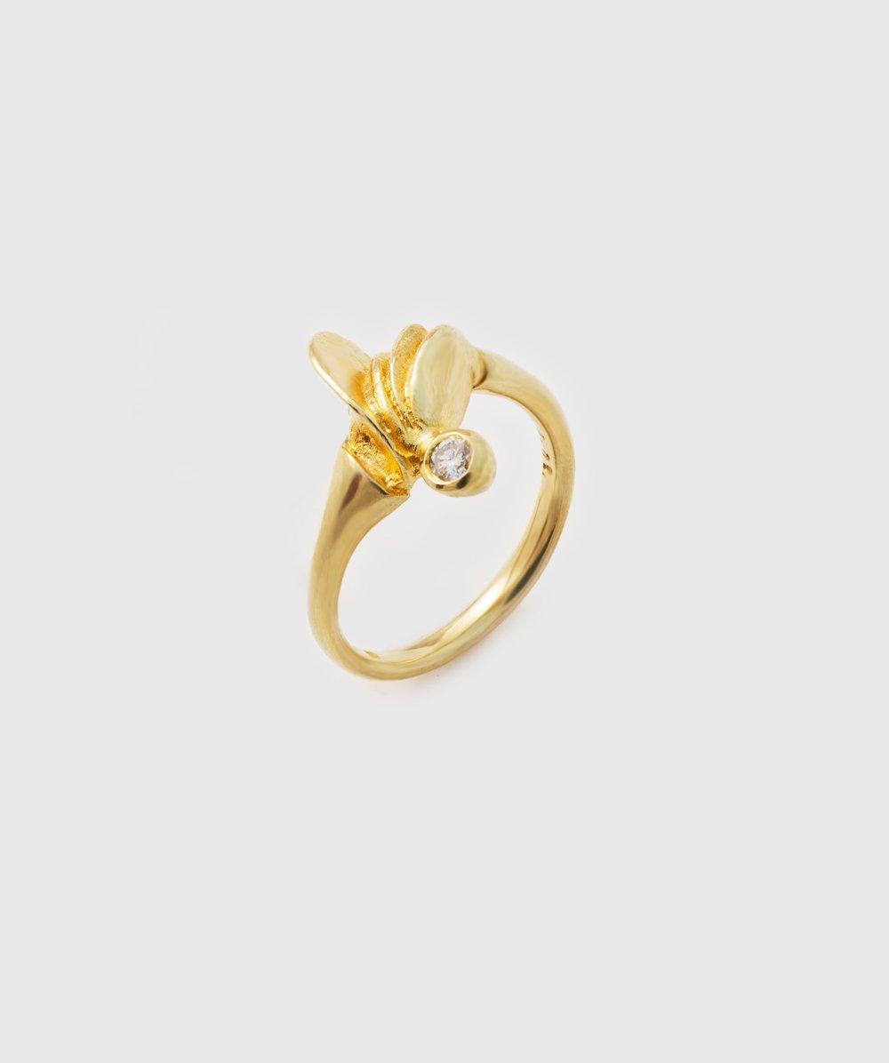Ring mit Brillant 585er Gelbgold