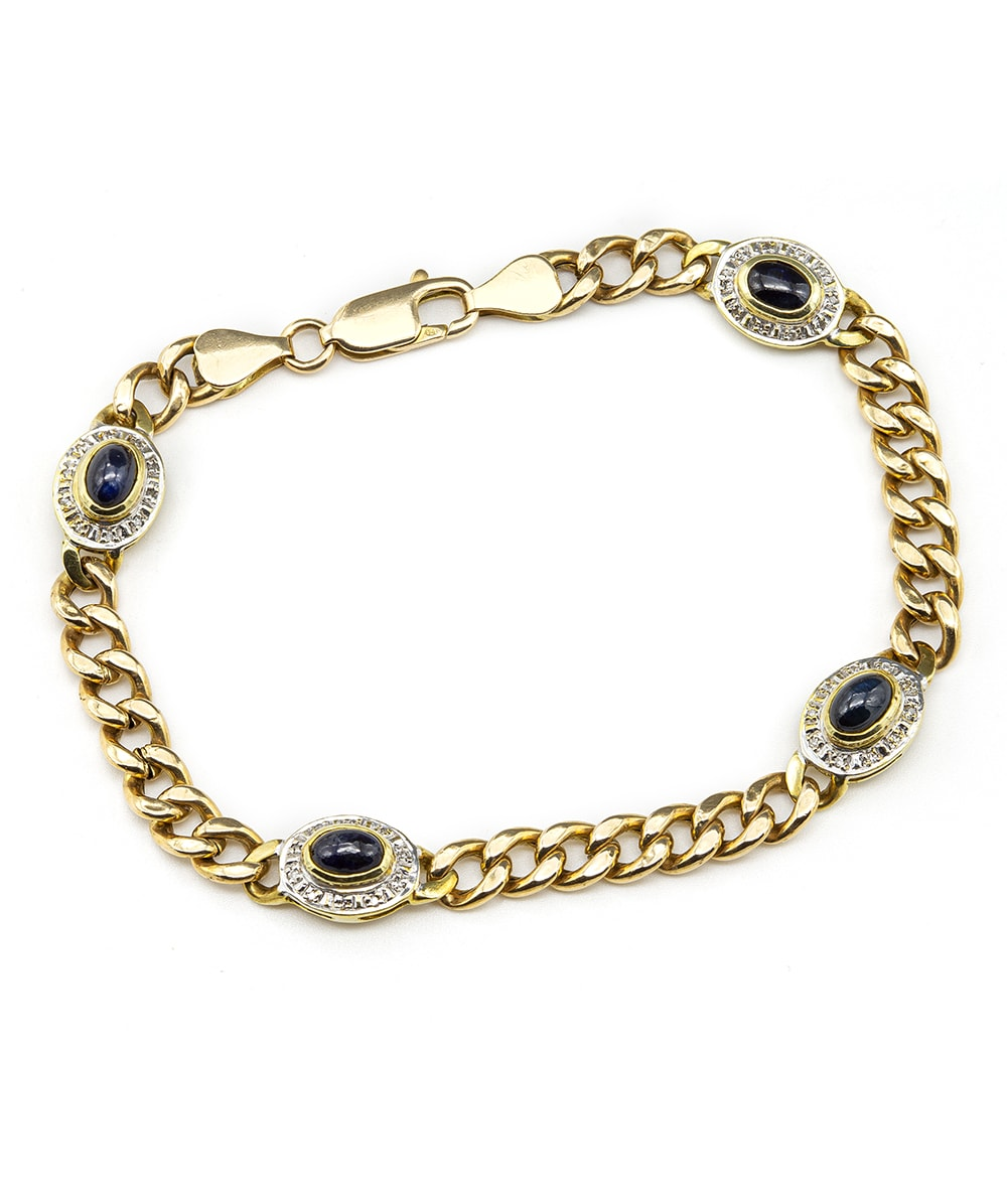 Armband mit Diamanten und Saphiren 585er Gold Bicolor