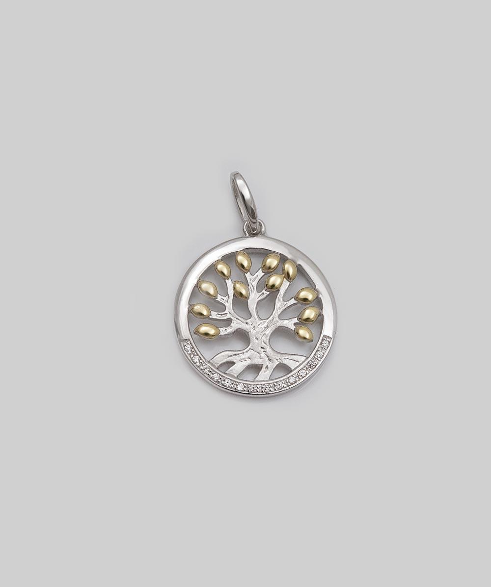 Anhänger Zirkonia Lebensbaum 925er Silbervergoldet