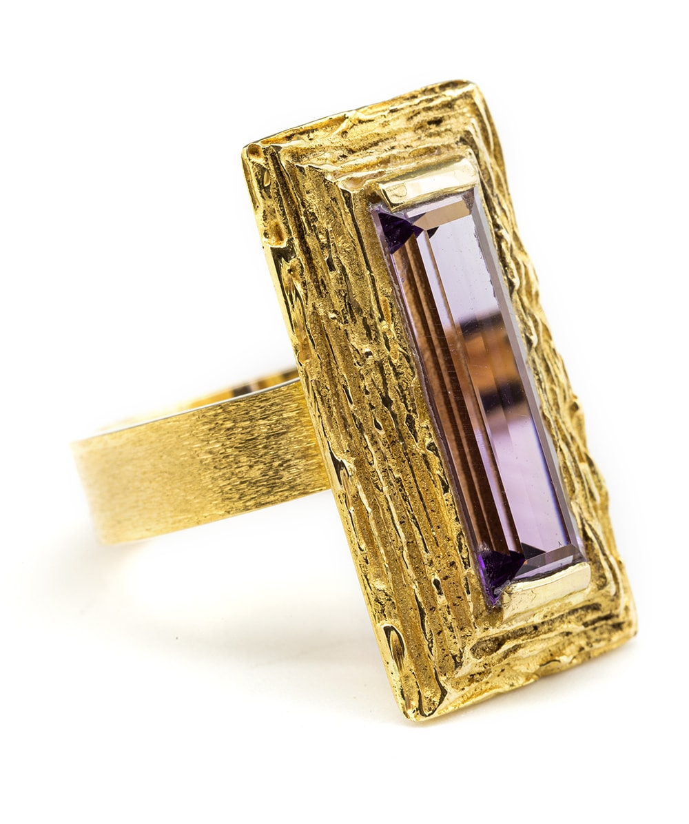 Ring mit einem Amethyst 750er Gold