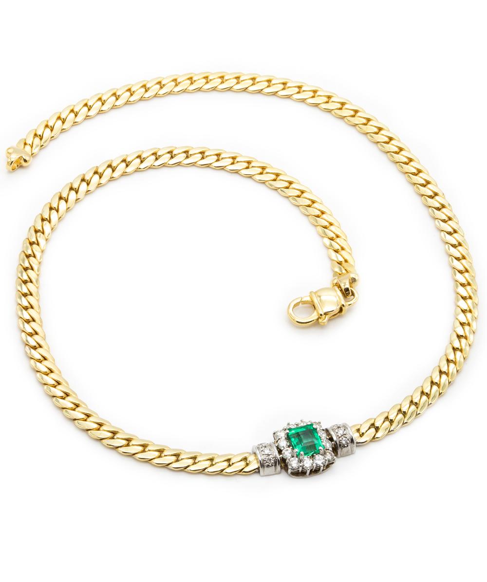Collier mit Smaragd und Brillanten 585er Gold