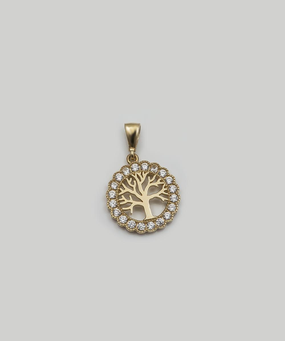 Anhänger Zirkonia Lebensbaum 585er Gold