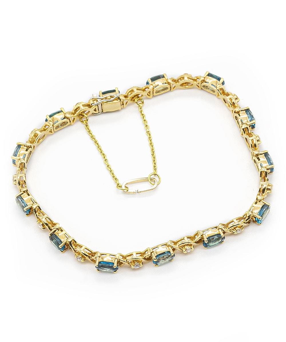 Armband mit Brillanten und Blau Topas 750er Gold