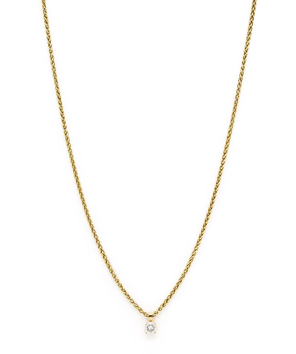 Halskette 750er Gelbgold mit Brillant Solitär