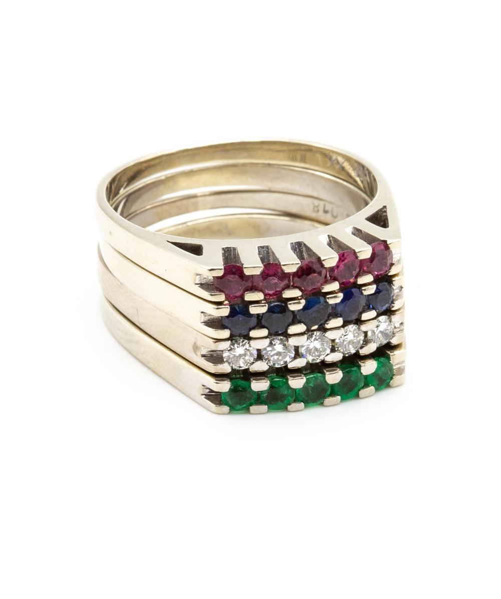 Ring 4er Set Brillant Rubin Smaragd Saphir 585er Weißgold
