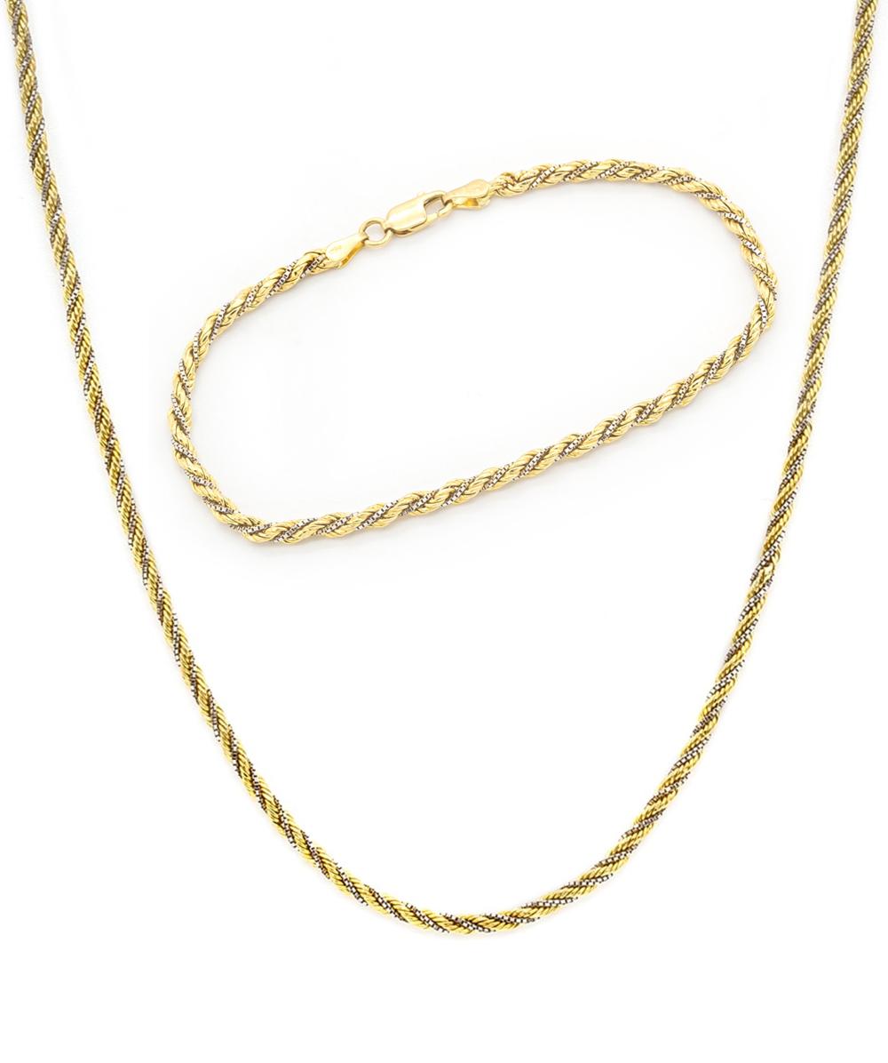 Schmuckset Zweiteilig Halskette und Armband 750er Gelbgold Bicolor