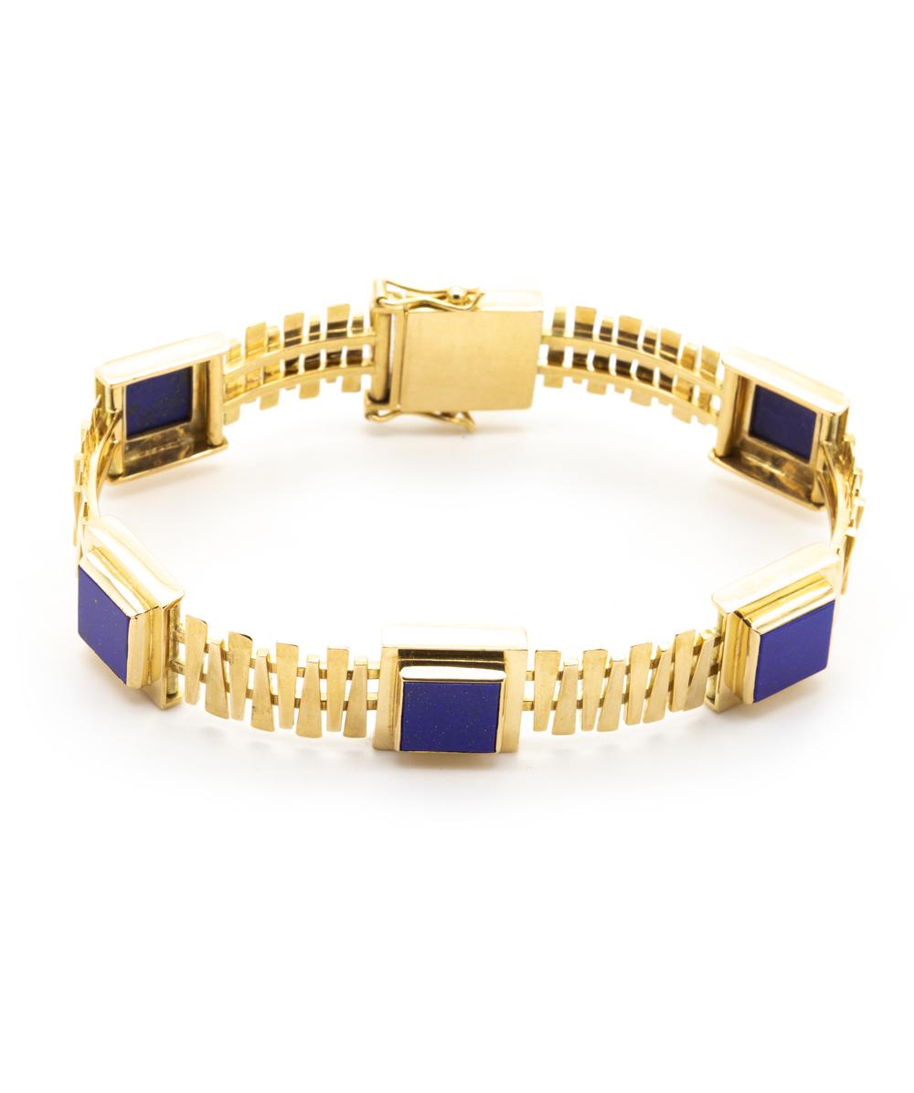 Armband Echt Lapis 585er Gelbgold massiv
