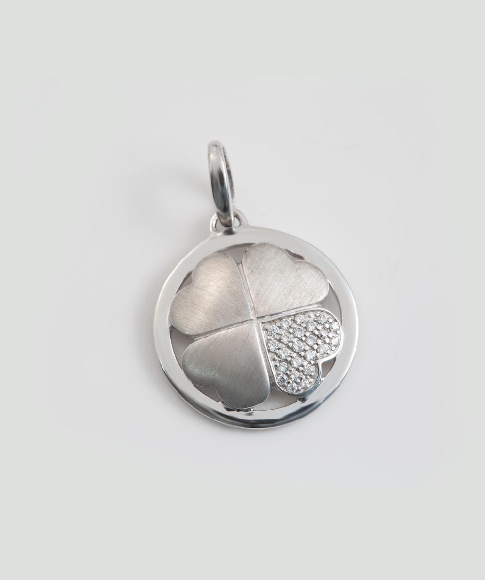 Anhänger Zirkonia  Kleeblatt 925er Silber