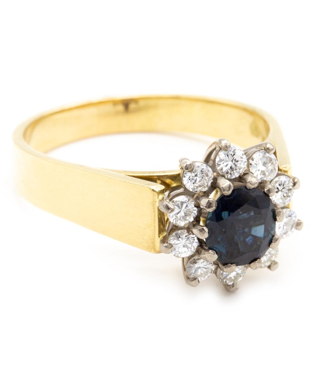 Ring mit Brillant Saphir 750er Gold bicolor