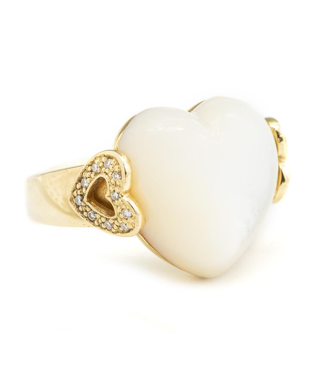 Ring mit Perlmutt und Brillanten 750er Gold