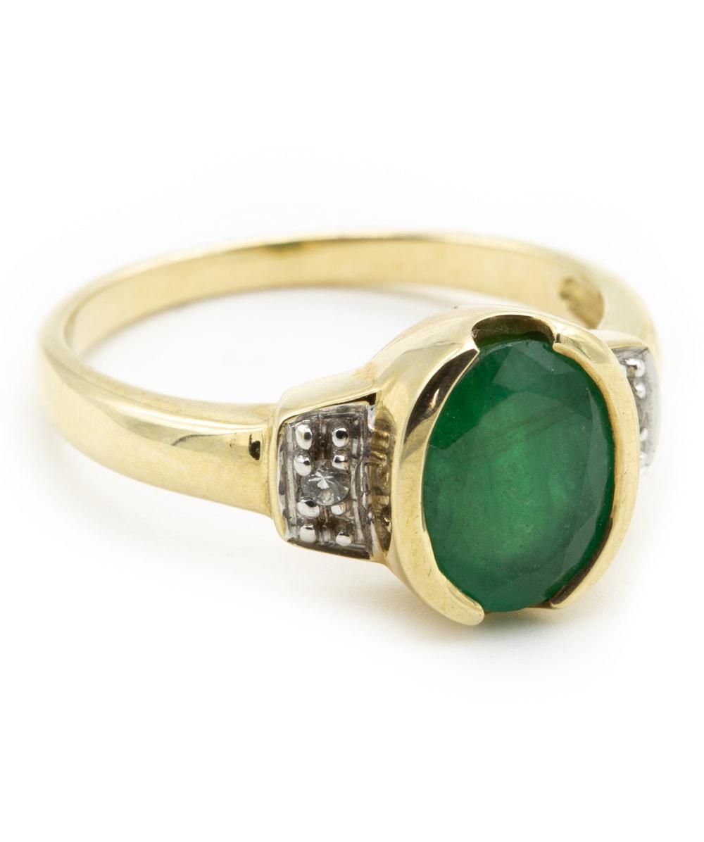 Ring mit Smaragd Zirkonia 375er Gold