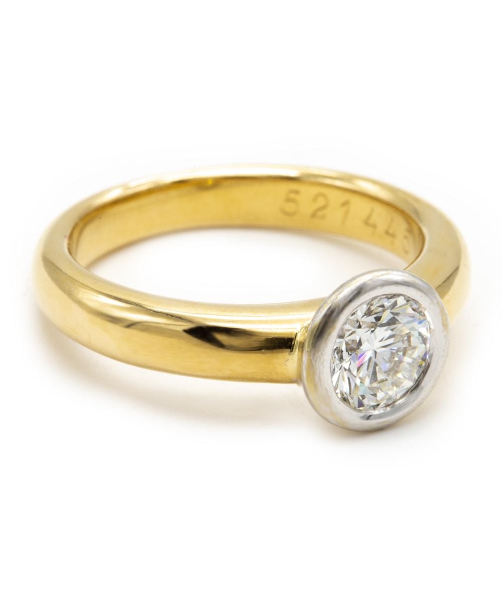 Ring mit Brillant 585er Gold bicolor