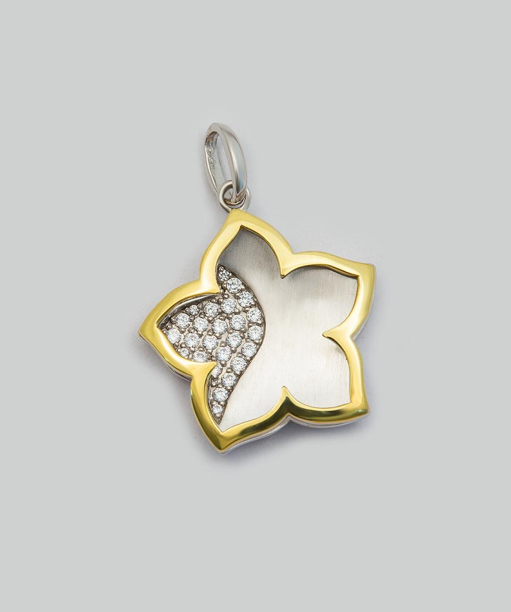 Anhänger Zirkonia Blume 925er Silbervergoldet