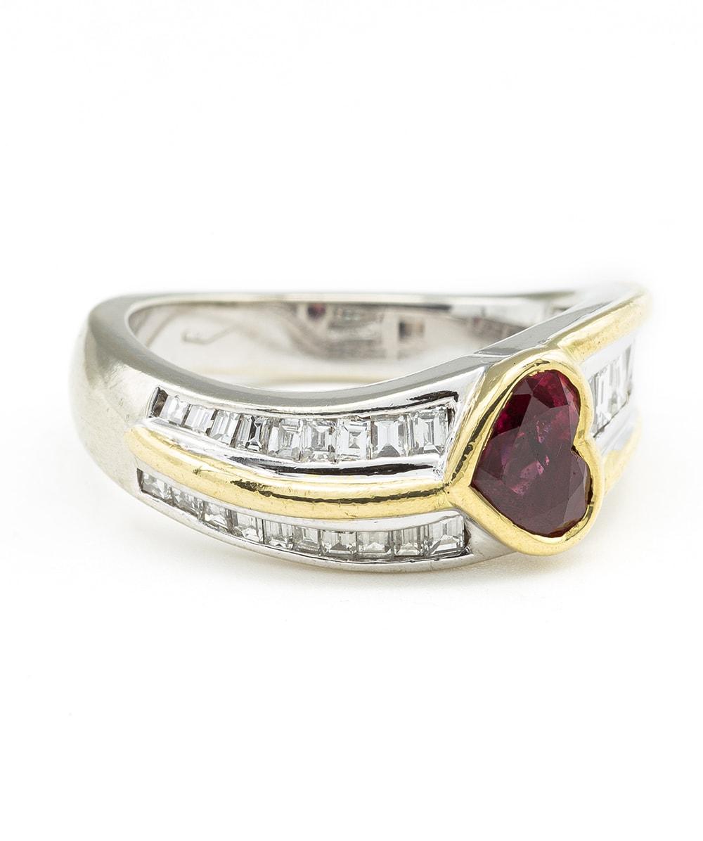 Ring mit Rubin, Brillant und Diamant 750er Gold Bicolor
