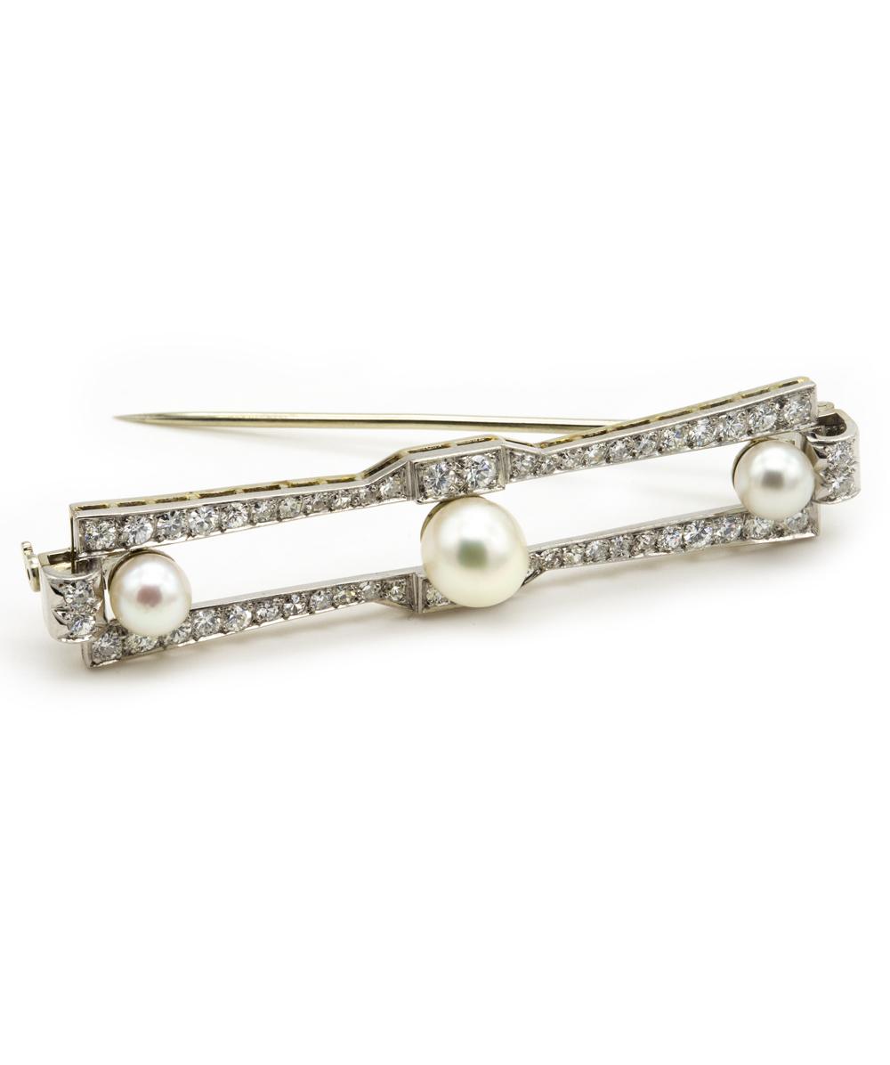 Antiknadel Brillant Perle 750er Weißgold