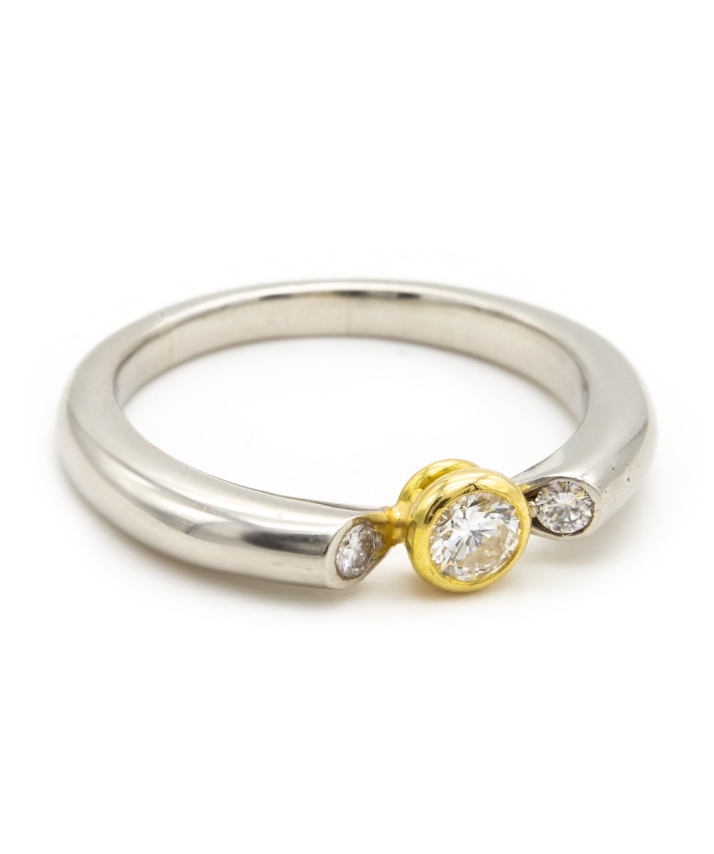 Ring mit Brillant 950er Platin 750er Gold